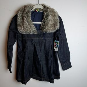 Roxy Girls Denim Jacket With Faux Fur Large 7-16